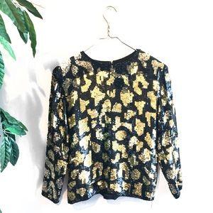 Vintage • Silk Gold/Black Sequined Printed Blouse.